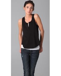 VINCE | Black Split Neck Tank | Lyst