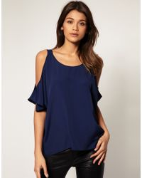 ASOS Collection - Blue Backless Top with Cut-Out Shoulder - Lyst