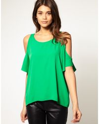 ASOS Collection | Green Backless Top with Cut-Out Shoulder | Lyst