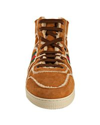 Gucci | Brown Biscuit Suede Shearling Hi-top Striped Sneakers for Men | Lyst