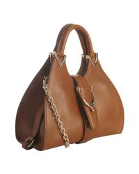 Gucci | Light Brown Leather Stirrup Chain Handle Small Bag | Lyst