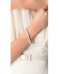 Kenneth Jay Lane - Metallic Cushion Cut Tennis Bracelet - Lyst