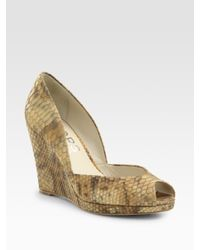 Kors by Michael Kors | Natural Vail Snake-embossed Metallic Leather Peep Toe Wedge Pumps | Lyst