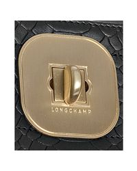 Longchamp - Black Croc Embossed Leather Gatsby Handbag - Lyst
