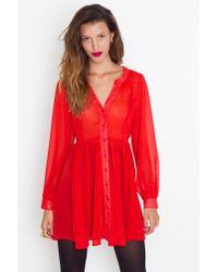 Nasty Gal - Red Chiffon Babydoll Dress - Crimson - Lyst