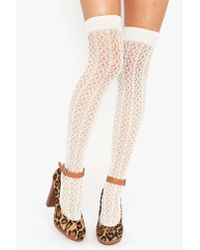 Nasty Gal - White Crochet Thigh Highs - Ivory - Lyst