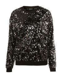 TOPSHOP | Black Knitted Sequin Sweater | Lyst