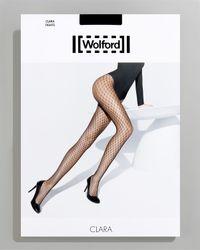 Wolford | Black Clara Dot Fishnet Tights | Lyst