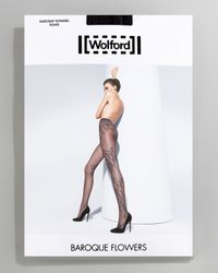 Wolford | Black Baroque Flowers Tights | Lyst