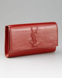 Saint Laurent | Red Belle De Jour Clutch, Opium | Lyst