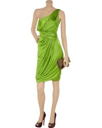 Zac Posen | Green Draped One-shoulder Jersey Dress | Lyst