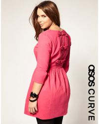ASOS Collection | Pink Asos Curve Pique Dress with Bow Back | Lyst