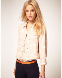 ASOS Collection | Pink Shirt with Swan Print | Lyst