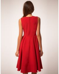 ASOS Collection | Red Asos Midi Dress with Full Skirt | Lyst