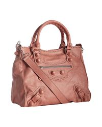 Balenciaga | Pink Old Rose Lambskin Giant Brogues Velo Convertible Tote | Lyst
