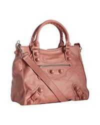 Balenciaga - Pink Old Rose Lambskin Giant Brogues Velo Convertible Tote - Lyst