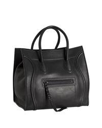 Céline | Black Leather Luggage Phantom Square Tote | Lyst