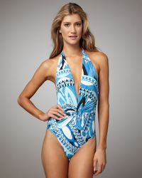 Emilio Pucci | Blue Isfahan Twist-front One-piece Swimsuit | Lyst