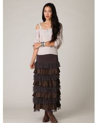 Free People | Gray Fp One Ruffled Layers Maxi Skirt | Lyst