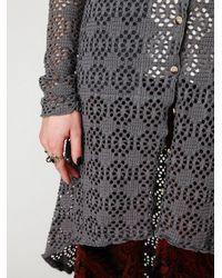 Free People - Metallic Crochet Love Long Sleeve Cardi - Lyst