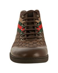Gucci | Brown Nylon Diamante Hi-top Lace-up Sneakers for Men | Lyst
