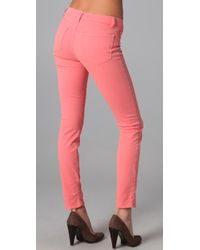 J Brand | Pink 811 Mid Rise Skinny Jeans | Lyst