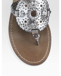 Jack Rogers - Metallic Leather Thong Sandals - Lyst