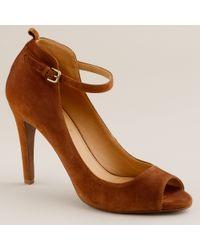 J.Crew | Brown Elisabetta Peep-Toe Heels | Lyst