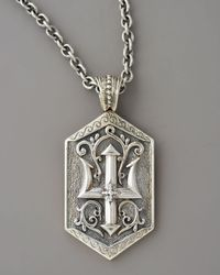 Konstantino - Metallic Poseidon Trident Tag Pendant for Men - Lyst