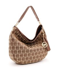 Michael Kors - Natural Large Bennet Monogram Shoulder Bag - Lyst