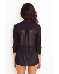 Nasty Gal - Chiffon Back Blazer - Black - Lyst