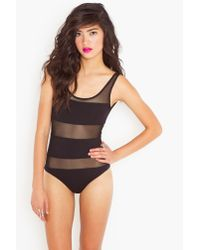 Nasty Gal | Mesh Stripe Bodysuit - Black | Lyst