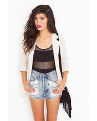 Nasty Gal - Mesh Stripe Bodysuit - Black - Lyst