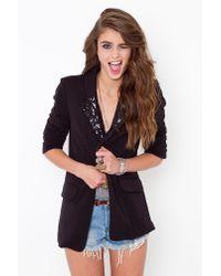 Nasty Gal | Sequin Tux Blazer - Black | Lyst