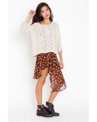 Nasty Gal | Brown Asymmetric Chiffon Skirt - Polka Dot | Lyst