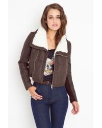Nasty Gal | Cropped Aviator Jacket - Brown | Lyst