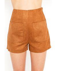 Nasty Gal - Natural Safari Suede Shorts - Lyst