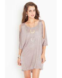 Nasty Gal | Purple Open Shoulder Dress - Champagne | Lyst