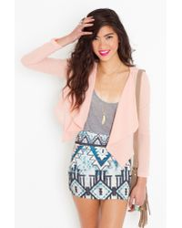 Nasty Gal | Natural Chiffon Crop Jacket - Peach | Lyst