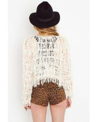 Nasty Gal - Natural Crochet Fringe Jacket - Lyst