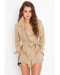 Nasty Gal | Natural Chiffon Back Trench - Khaki | Lyst