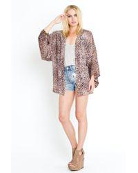 Nasty Gal | Multicolor Leopard Silk Kimono | Lyst