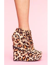 Nasty Gal | Multicolor Mercer Wedge Boot - Leopard Pony | Lyst