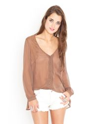 Nasty Gal | Brown Laced Chiffon Blouse - Mocha | Lyst