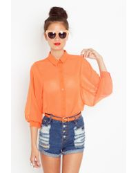 Nasty Gal - Chiffon Crop Blouse - Orange - Lyst