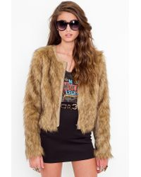 Nasty Gal | Brown Kate Faux Fur Coat | Lyst