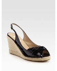 Valentino | Black Mena Patent Leather Espadrille Wedge Bow Sandals | Lyst