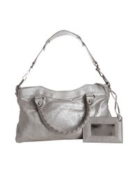 Balenciaga   Metallic Silver Leather First Top Handle Bag   Lyst
