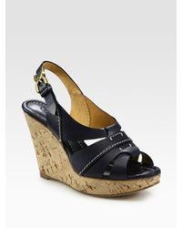 Chloé | Blue Leather Slingback Cork Wedge Sandals | Lyst