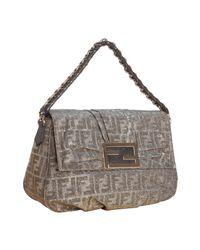 Fendi | Metallic Silver Zucca Shimmer Canvas Chain Shoulder Bag | Lyst